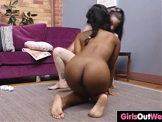 Exotic hairy lesbian licked and fingered