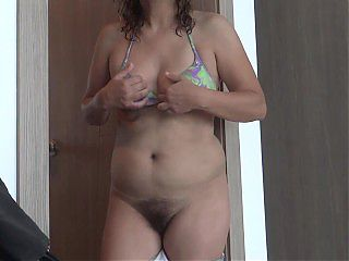 Hairy mom excited on the beach shows off, masturbates and wants to fuck with her stepsons friend