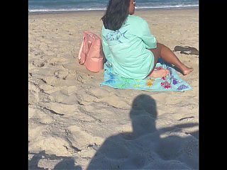 Showing Pussy on very public beach exhibitionist girlfriend